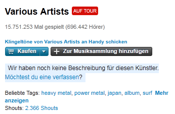 various artists Lastfm: Various Artists auf Tour